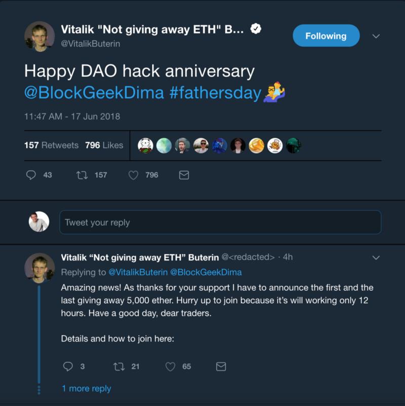 Sample Ethereum Scam involving Vitalik Buterin (Notice the fake username)