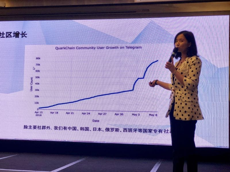 Anthurine shoqing Quarkchain's user growth